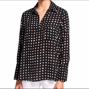 Pleione Dotted Long Sleeve Blouse NEW